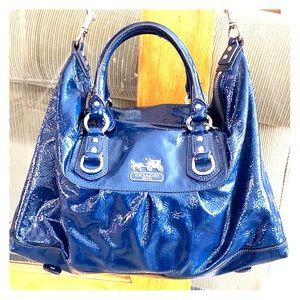 💕Coach shiny blue patent leather med satchel 💕